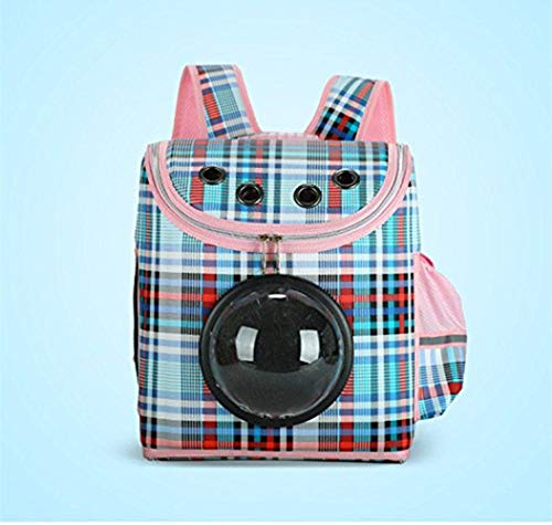 Pet Carrier Backpack for Small Cats and Dogs,Outdoor Portable Travel Space Backpack for Puppy and Kitten,Including Three Windows Type and One Cotton Pad,Best Gift for Your Pets (Light Blue)