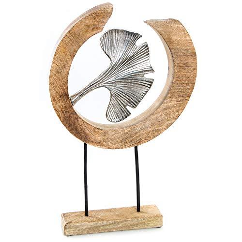 Logbuch-Verlag Deko Skulptur zum Hinstellen aus Holz & Metall mit Ginkgo Blatt - Dekofigur 46 cm - Geschenk Geburtstag