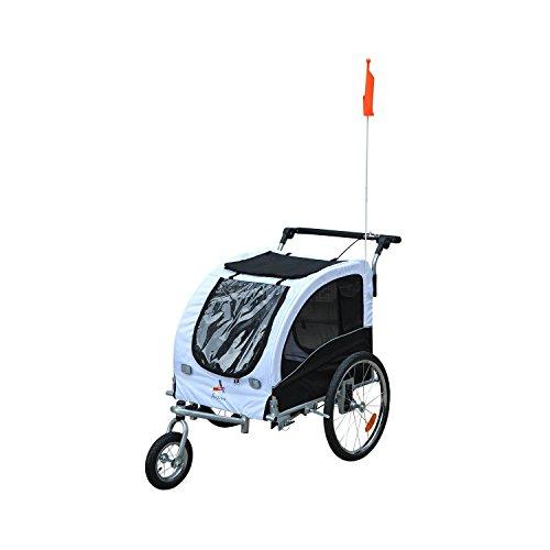 PawHut fietskar voor honden, wit en zwart