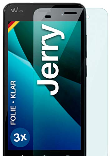 moex Klare Schutzfolie kompatibel mit Wiko Jerry - Bildschirmfolie kristallklar, HD Bildschirmschutz, dünne Kratzfeste Folie, 3X Stück