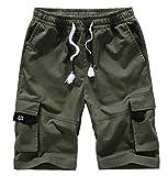 Pantalones Cortos Hombre Cargo Camuflaje Shorts Verano Algodón Cintura Elástica Short con Cordón con Bolsillos Army Green Small