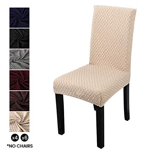 LiveGo Funda protectora para silla de comedor, cubierta protectora para silla de respaldo alto, funda protectora para silla, Beige, Paquete de 6