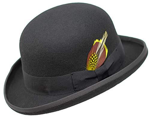 Borges & Scott Premium Orwell - Sombrero de Hongo o Bombín - 100% Fieltro de Lana - Negro 60cm