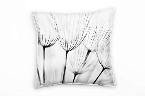 Paul Sinus Art Blumen, Macro, schwarz, weiß, Pusteblume Deko Kissen 40x40cm für Couch Sofa Lounge Zierkissen - Dekoration zum Wohlfühlen