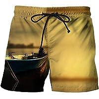 YNYEZBH 夕暮れのボートサマーレジャー3Dショーツスポーツ速乾性パンツ愛好家ビーチスイミングショーツ
