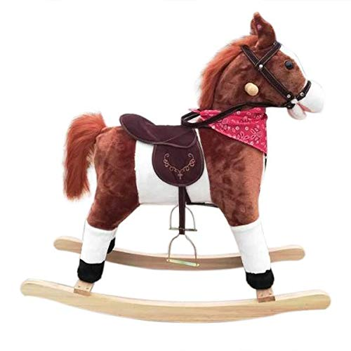 Why Choose Kids Plush Ride On Pony Rocking Horse Wooden Toy with Neigh Sound Dark Brown
