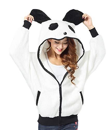 DELEY Mujeres Niñas Invierno Casual Caliente Lindo Panda Animales Cosplay Felpa Zip Sudaderas con Capucha Outwear Tamaño L