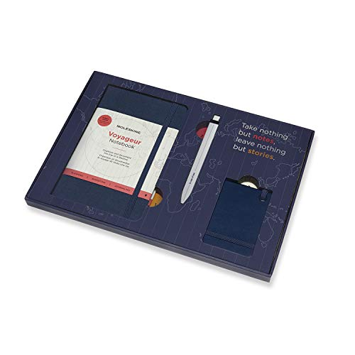 Moleskine - Kit de Voyage - Carnet de Voyage, Stylo et Etiquette de Bagage - Boîte Réutilisable pour Souvenirs - Carnet de notes Bleu Ocean 11,5 x 18 cm - 208 Pages