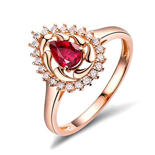 Amody Anillo Mujer Compromiso Oro Rosa, Anillos Matrimonio Lágrima con 0.5ct Rubí 0.17ct Diamante Tamaño 6,75-25
