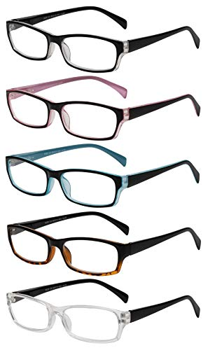 Reading Glasses 5 Pairs Fashion Ladies Quality Designed Spring Hinge Readers for Women +1.5