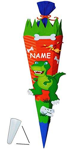 """BASTELSET Zuckertüte """" Dinosaurier - Dino """" - 70 / 85 cm - incl. Namen - mit / ohne Kunststoff Spitze - Schultüte zum selber Basteln - 6 eckig / orange - Jungen - Saurier T-Rex Tyrannosaurus - Komplettset"""