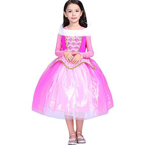 O.AMBW niña Princesa Vestido Bella Durmiente Princesa Aurora Disfraz Rosa Tulle Disfraz niños Fiesta Halloween Fiesta cumpleaños Cosplay Disfraz con Guantes Collar Arete Peluca Trenza