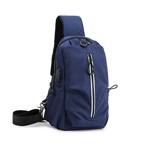 Sling Bag Shoulder Chest Bag Lightweight Cross Body Bags for Mensafety Reflective Strip Usb Charging Port Multifunctional Chest Bag,Blue