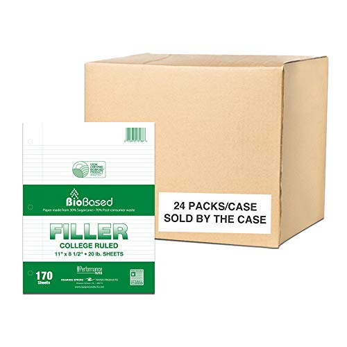 """ROARING SPRING BioBased College Ruled Recycled Loose Leaf Filler Paper, USDA Certified, 1 Case (24 Packs), 11"""" x 8.5"""" 170 Sheets, White Paper"""