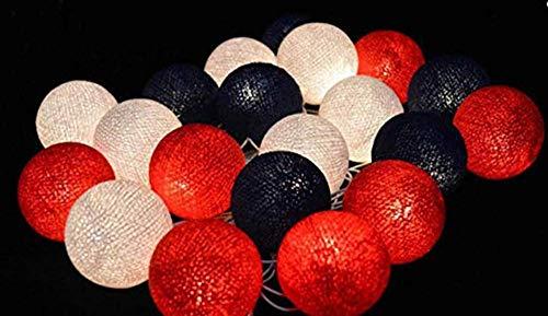 HTZ-M Luces de jardín 2.5m 20 LED Rojo Negro Blanco Bolas de algodón Cadena de Luces Funciona con Pilas Navidad LED Garland Party Lámpara Decorativa para niña Fiesta de cumpleaños Bebé