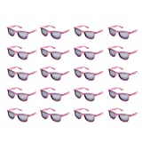 20 Packs Wholesale Adults Neon Colors 80's Retro Style Square Party Favors Sunglasses (Pink)