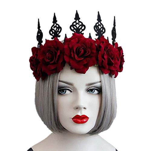 YXYXN Halloween Stirnbänder, Gotik Queen Red Rose Crown Tiara Stirnband Halloween Maskerade...