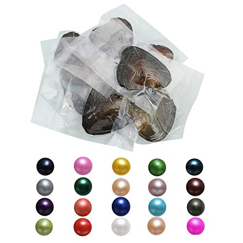 NewEGG Oysters Pearls Freshwater Cultured Love Wish Pearl Oyster with Round Pearls Inside 15 PCS (7-8mm)