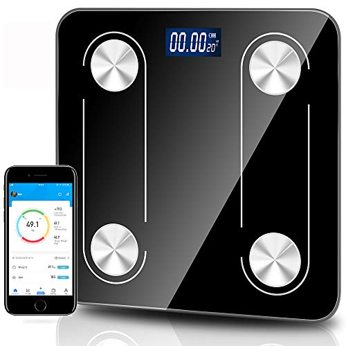 DaWinsie - Báscula electrónica electrónica con Bluetooth, báscula conectada electrónica digital, multifuncional, digital, balanza digital con APP, carga USB, pantalla LCD, 180 kg/400 lb(260 x 260 mm)