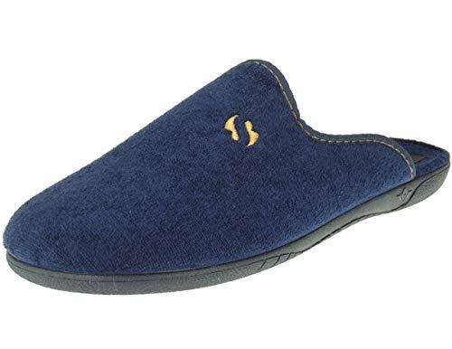 ALBEROLA-SEVILLAS AC1SE Zapatilla Chinela Descalza Casa para Hombre Tallas Grandes | Toalla | Inyectada | Piso Goma | Azul Talla 48