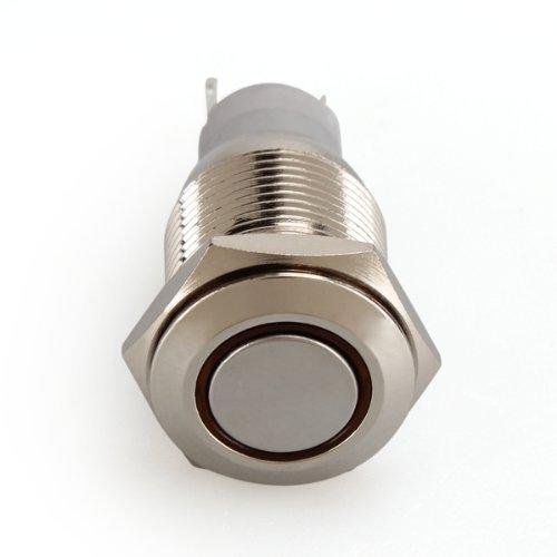 COLEMETER Interruttore a Pulsante in Metallo con LED Rosso 16mm 12V 3A per Auto