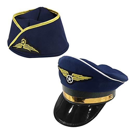 1 Stück Pilotenmütze Pilot Mütze und 1 Stück Flugbegleiterin Hut Stewardess Hut Stewardess Cosplay Kostüm Damen Pillbox Hut Damen für Motto Party Karneval Cosplay