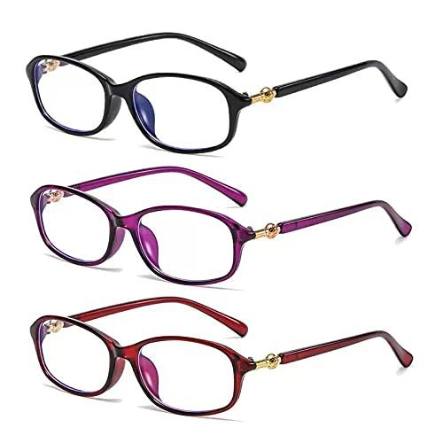 DZQUY Gafas Gafas de Lectura Plegables Lightweight Frame Flexible Spring Bisagra Presbicia Lentes presbergientes convenientes para Leer Mejores Libros y periódicos,3 Pack Mixed Color,+3
