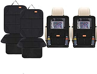 Smart elf Car Seat Protector Set with iPad and Tablet Holder Kick Mat Cover, Universal Stain Resistant Protective Baby Chi...