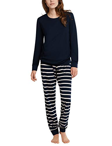 Schiesser Damen Anzug Lang 161098 Pyjamaset, Nachtblau, 38