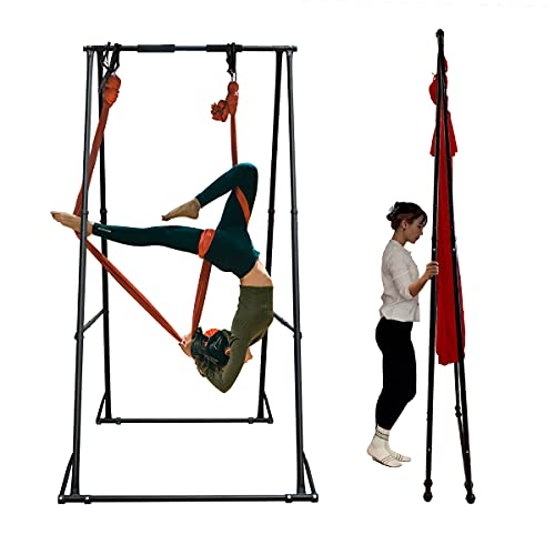 KT Aerial Yoga Stand Frame Indoor Outdoor KT1.1518. Foldable, Portable Aerial Silk rig. Height Adjustable, Stable and Durable Yoga Swing Stand Frame