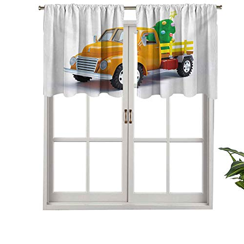 Hiiiman Thermal Insulated Home Decor Rod Pocket Curtain Valance Yellow Vintage Truck Tree Design with Star Topper, Set of 1, 42'x18' for Basement Window