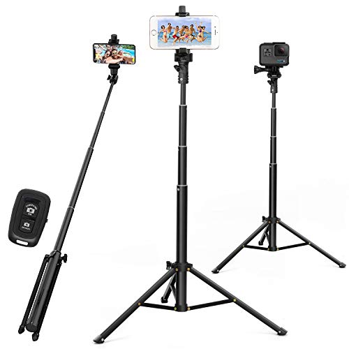 Selfie Stick Tripod 52 Inch Cell Phone Tripod Stand with Bluetooth Remote Smartphone for Iphone & Android Cellphone Gopro Camera Mount Portable Monopod Feet Travel Lightweight