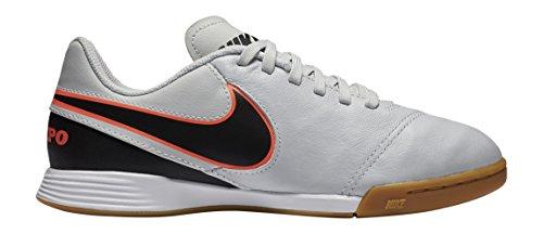 Nike JR Tiempo Legend Vi IC, Zapatos de Primeros Pasos para Bebés, Plateado/Negro/Naranja (Pure Platinum/Black-Hypr Orng), 27 1/2