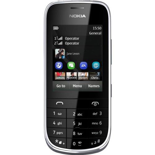 'Nokia Asha 202–Smartphone (Touchscreen 2,4-Kapazität, 10MB, 2MP Kamera, 32GB RAM) schwarz