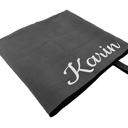 Mikrofaser-Handtuch mit Name oder Wunschtext, Sport-Handtuch mit Bestickung - ideal als Badehandtuch, Reisehandtuch & Strandtuch, kompakt, leicht & schnelltrocknend, 110 x 175 cm anthrazit