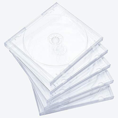 Maxtek 10.4 mm Standard Single Clear CD Jewel Case with Assembled Clear Tray, 25 Pack