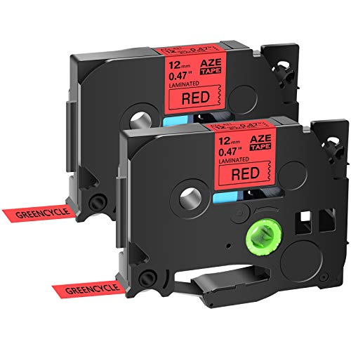 """GREENCYCLE 2 Pack Replacement AZE Tapes 12mm 0.47 Inch 1/2"""" Black on Red Laminated Label Tape TZe-431 TZe431 TZ431 TZ-431 Compatible for Brother P-Touch Cube PTD210 PTD600 PTH110 PT1230 Label Maker"""