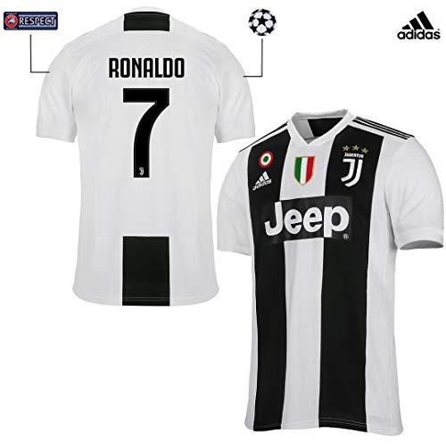 Juventus Maglia Ronaldo Gara Home Ufficiale 2018/19 - Originale - Bambino - Patch Scudetto e Coppa Italia Sempre Incluse - Taglia 128 cm 7/8 Anni - Patch Champions