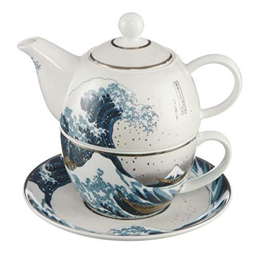 Goebel Die Welle Teekanne mit Untertasse, Tee Kanne, Kaffeekanne, Hokusai, Porzellan, 67013531