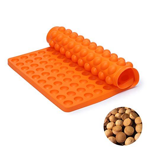 SveBake Silikon Backmatte - 2cm Halbkugel Silikonmatte mit Noppen - 140er Backform für Hundekekse & Hundeleckerlies, Backpapier - Backunterlage - Pralinenform, 38,5x27,5cm, Orange