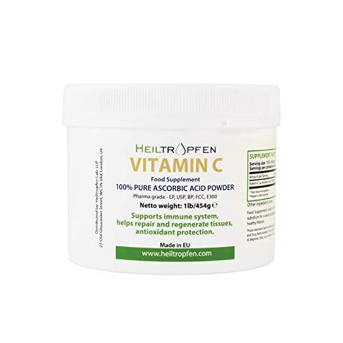 Ren askorbinsyra feinkristallint pulver, 1 lb-454 g, vitamin C, farmakskvalitet (Ph. Eur., USP, BP)