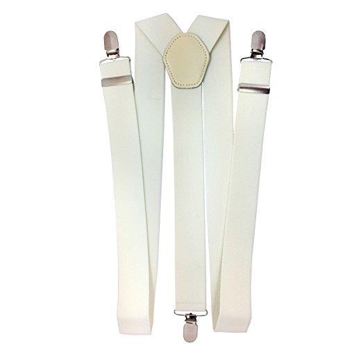 Trimming Shop 35mm Hommes Bretelles en Couleurs Classiques - Résistant à Clipser Bretelles - Entièrement Réglable et àÉlastique - Ivoire, 35mm