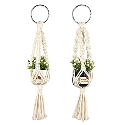 Mini Macrame Plant Hangers for Car Accessories Rear View Mirrior Charm Cute Hanging Rearview Car Decor,Boho Hanging Plant Holder,2 Pcs Plant Hangers with Artificial Succulent Plants,Lvory,13-Inch