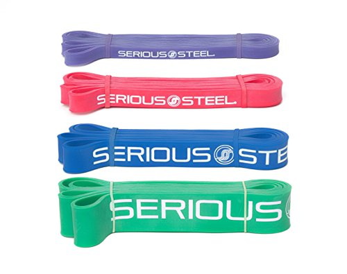 Serious Steel Assisted Pull-Up Band, Resistance & Stretch Band | Powerlifting Bands | Pull-up and Band Set - Purple, Red, Blue, Green (4-Band Set)