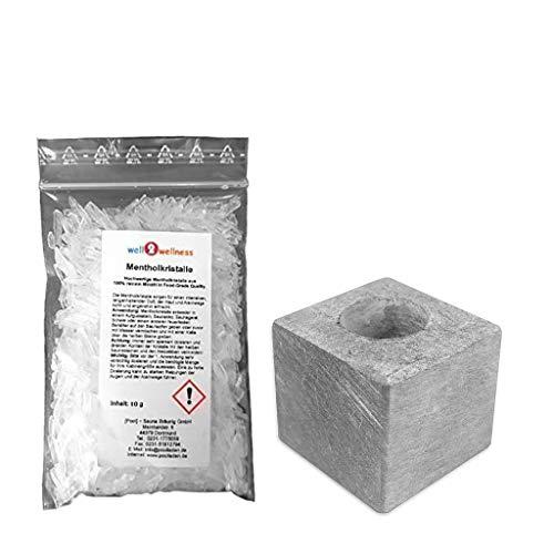 SudoreWell® Sauna Aufgussstein Dampfstein 1 Loch aus Speckstein + 10g Mentholkristalle