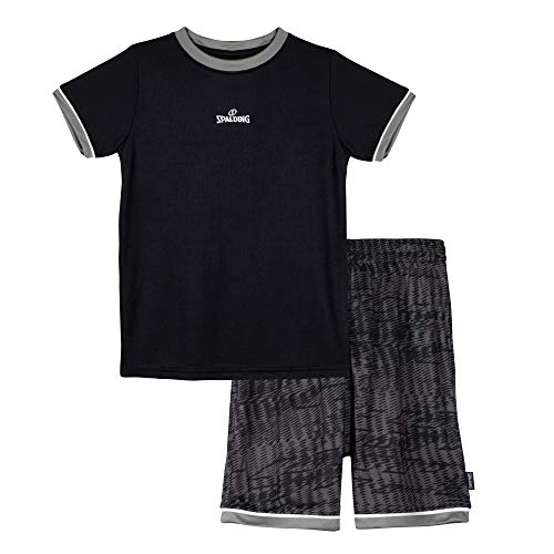 Spalding Boys Athletic Basketball Graphic Crewneck T Shirt Short Seeve Top and Shorts Gym Set, Black and Grey, 5/6
