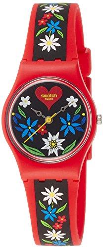 Swatch Damen Analog Quarz Uhr mit Silikon Armband LR129