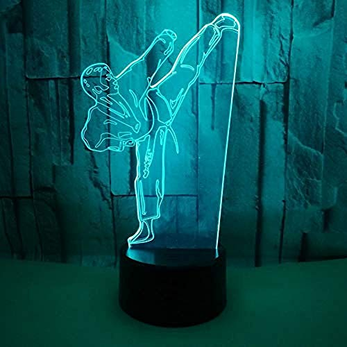 3D Illusion Nachtlicht Bluetooth Smart Control 7 & 16M Farbe Mobile App Led Vision Schlafzimmer Dekor Farbverlauf Karate Tisch Taekwondo Modellierung Kids Party Acryl Schlafzimmer