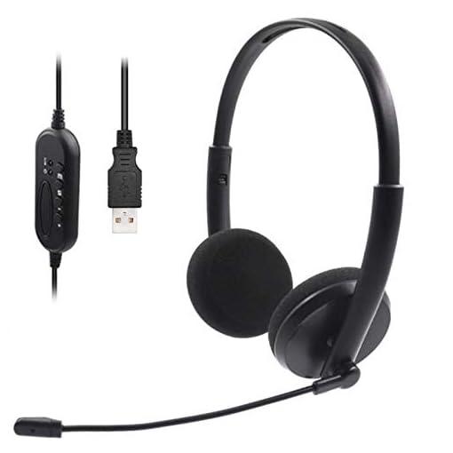 USB Auriculares con Micrófono, Auriculares con Cable Sonido Estéreo y Micrófono USB con Supresión de Ruido Cascos… 1