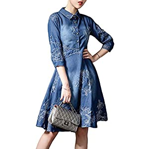 Women's   Button-Up Distressed Denim Dress